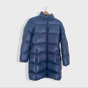 Long blue puffer jacket
